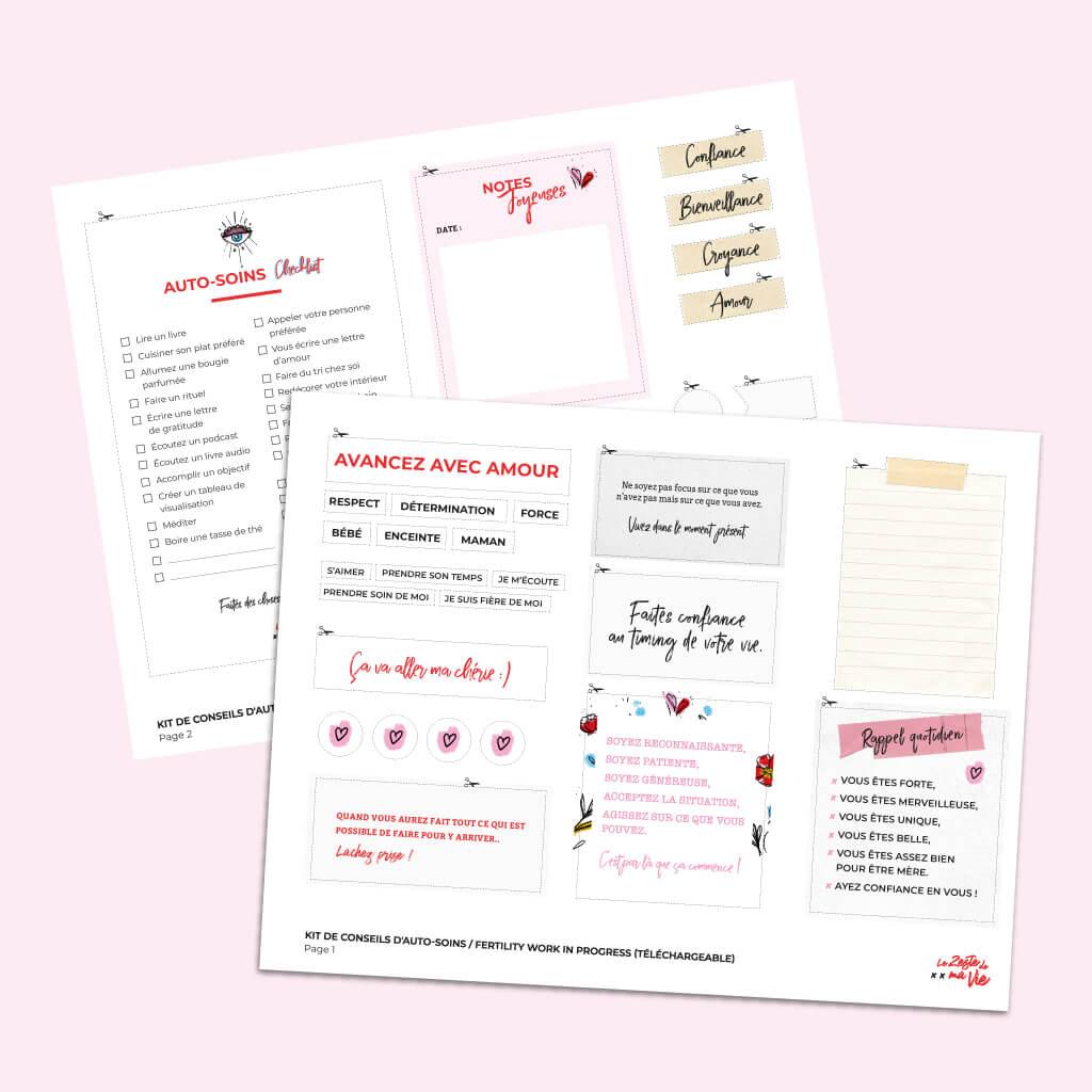 Kit de conseils d'auto-soins pour la procréation médicalement assistée, téléchargeable et imprimable.